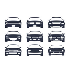 car black silhouette cars front view icon vector image