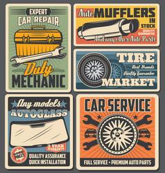 Car wheel tire auto spare parts mechanic toolbox vector