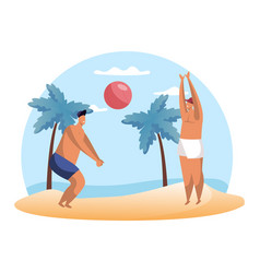 cartoon people playing summer volleyball on beach vector image