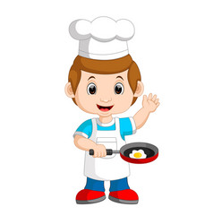 Chef frying egg vector