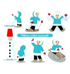 Children winter amusements vector