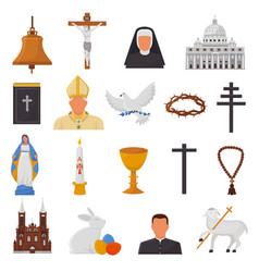 Christian icons christianity religion signs vector