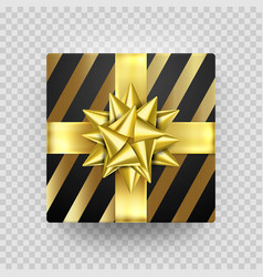 christmas gift box gold present golden ribbon bow vector image