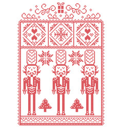 christmas pattern with nutcracker vector image