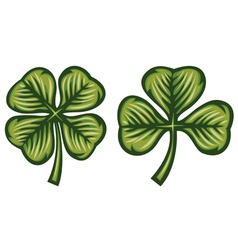 Clover with three and four leafs vector