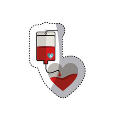 Colorful sticker bag donate blood and heart shape vector