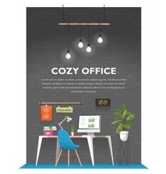 Creative office interior in loft space vector image