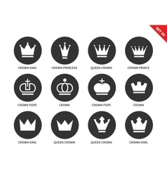 Crown icons on white background vector image
