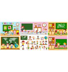 Different scenes of classrooms with kids vector