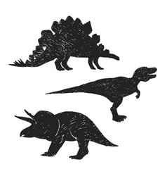 dinosaurs hand drawn silhouette vector image