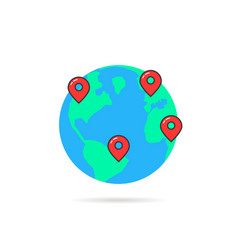 earth globus with map pins vector image