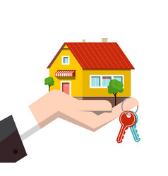 family house icon in human hand with keys vector image