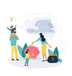 Family savings and personal finance strategy vector