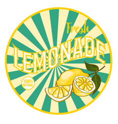 flat bright healthy lemonade round sticker vector image