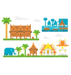 Flat design beautiful thai village vector