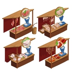 Four kiosk selling meat products vector image