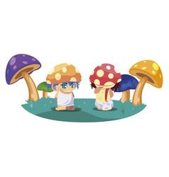 Fungus elfs in garden magic characters vector