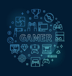 Gamer round concept blue thin line vector