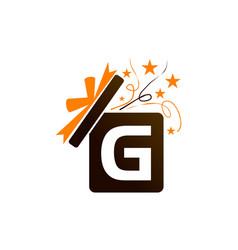 Gift box ribbon letter g vector