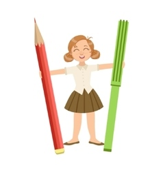 Girl in school uniform with giant pencil and vector