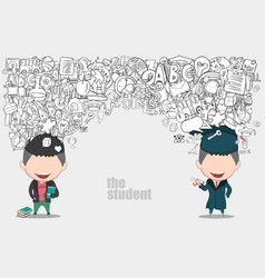 graduated boy pupils back of school background vector image