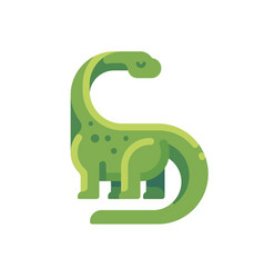 green diplodocus flat icon long necked vector image