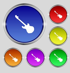 Guitar icon sign Round symbol on bright colourful vector image