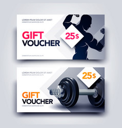 gym gift voucher template with body builder vector image