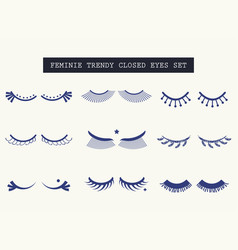 Hand drawn feminine closed pair of eyes icons set vector