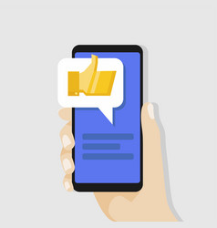 hand holding smartphone with golden thumbs vector image
