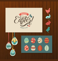 Happy easter calligraphy greeting card set hand vector