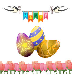Happy easter greeting card swallows eggs tulips vector