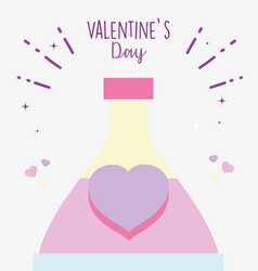 happy valentines day potion bottle love heart vector image