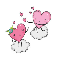 hearts love couple kawaii characters vector image