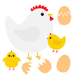 Hen chicken broken cracked egg bird icon happy vector