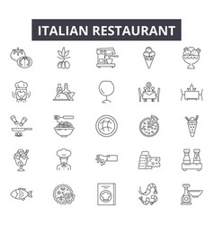 Italian restaurant line icons for web and mobile vector