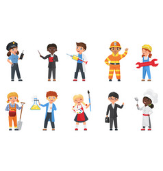 kids in different professions and poses set vector image