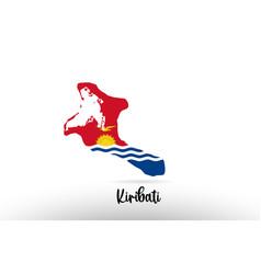 kiribati country flag inside map contour design vector image
