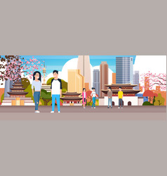 Korean couple over seoul city background with vector