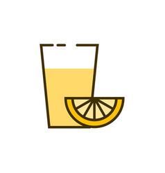 lenonade glass with piece lemon vector image