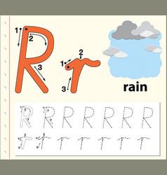 letter r tracing alphabet worksheets vector image