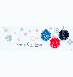 Merry christmas decorative banner with xmas vector