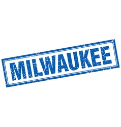 Milwaukee blue square grunge stamp on white vector