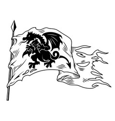 Monochrome flag with dragon vector