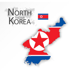 north korea flag and map vector image