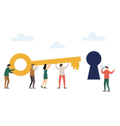 people holding big key together and trying to vector image