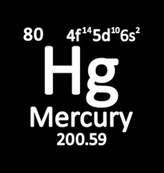 periodic table element mercury icon vector image