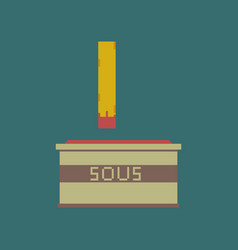 Pixel icon in flat style french fries and sauce vector