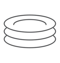 plates thin line icon kitchen and cooking dishes vector image