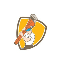 Plumber Carrying Monkey Wrench Shield Cartoon vector